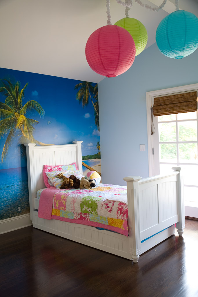 Little Girl's Room with Island Wallpaper and Paper Globe Lights